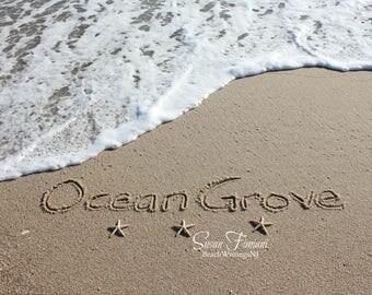 Ocean Grove Beach Sand Beach Writing  Fine Art Photo Jersey Shore
