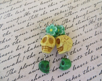 Yellow And Green Skulls With Green And Yellow Polymer Clay Flowers Earrings