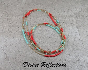 Coral Necklace, Long Coral Necklace,Coral Multi Strand Necklace,Mint Necklace,Long Mint Necklace,Coral and Mint Long Necklace