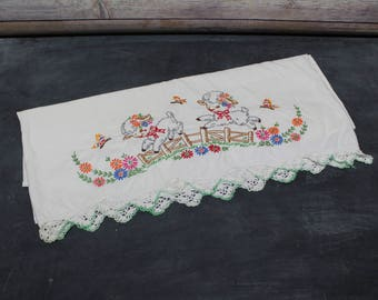 Vintage Embroidered Pillowcase, Children's Pillowcase, Nursery Bedding,  Lamb, Butterflies, Flowers