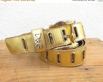 SALE 90s Dolce and Gabbana Belt Wrap Around Gold Leather OSFM