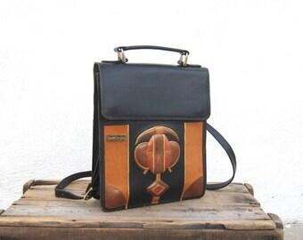 SALE Marvin Sin Handmade Leather African Art Satchel Shoulder Bag