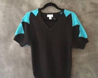 SALE 80s Short Sleeve Geometric Abstract Color Block Angora Silk Fuzzy V neck Cap Sleeve Knit Ladies M