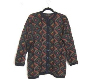 20% Off Sale Cardigan Geometric Chunky Knit Hand knit Oversized Pima Cotton OSFM