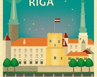 Riga Latvia skyline, Riga Print, Riga Latvia art, Riga Print, Riga Canvas, Riga Poster, Loose Petals Riga Latvia Skyline, style E8-O-RIGA