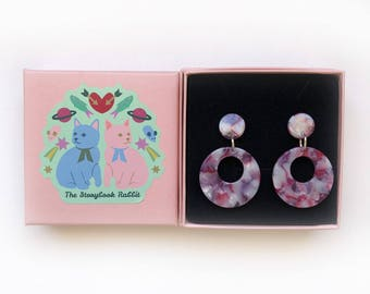 Small Marbled Dangle Stud Earrings - Marbled 50's Round Dangles -Pink