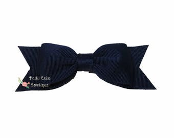Baby Girls Navy Blue Hair Bows, Baby Bows, Hair Accessories, Baby Girl Navy Hair Clips, Girls Navy Bow, Navy Hair Bow, Navy Hairbow