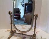 Vintage Brass Swivel Base Mirror - Brass Oval Swivel Mirror - Mirror on Stand - Standing Brass Mirror