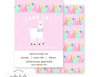 Llama Alpaca Printable Party Invitation - Birthday or Baby Shower - Make & Do Parties