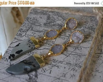 XMAS IN JULY Horn Earrings/// Gemstone Gold Dipped Earrings