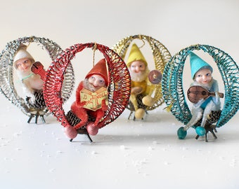 Vintage Christmas Tree Decorations Gnome Elf Quartet