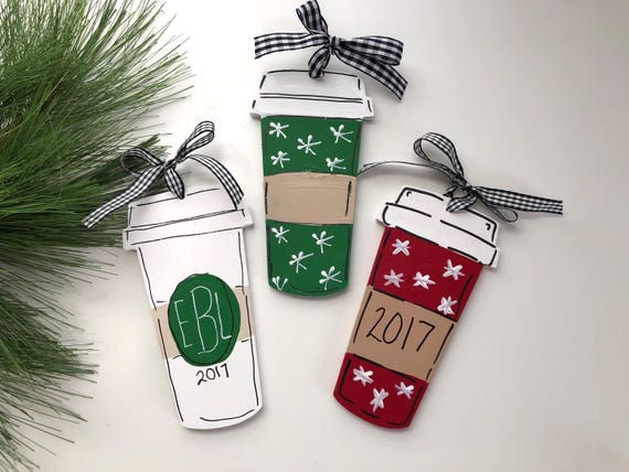 Personalized, latte cup, ornament,  Hand painted coffee ornament, coffee mug ornament, personalized kid's ornament, Christmas ornament