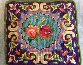 """Vintage Needlepoint Floral Pattern, 11 1/2"""" x 12"""", Green Velveteen Backing Pillow, with Green Piping"""