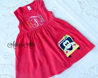 Back to School Dress, Appliqued Dress, School Bus, Embroidered Dress, Monogrammed Dress, Toddler Dress, Summer Dress, Sundress