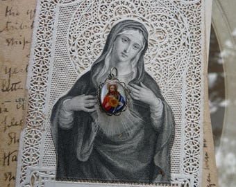 Antique French Sacred Heart of Christ Reliquary, A Miniature Talisman for the Passionate, offered by RusticGypsyCreations
