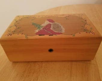 Vintage Small Wooden Lane Jewelry Box