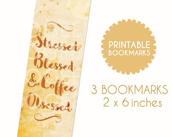 Printable Bookmarks Coffee Lovers Bookworms Original DIY Instant Download