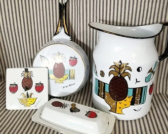 Yearly Big Sale: Vintage Georges Briard Enamelware Pitcher, Butter Dish, Decor Pineapple Ambrosia, MCM Mid-Century Modern