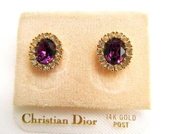 "Vintage Christian Dior 14K Post Earrings - Amethyst and Crystal Rhinestones - Pierced - Oval 5/8"" High - Signed"
