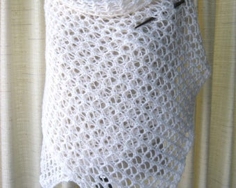 Hand Knit Scarf Wrap Shawl in Soft Mohair Wool in WHITE Frost / Bridal Shawl / Wedding / Feminine Gift / Ready to ship
