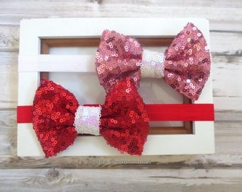 Pink Red Bow Baby Headband, Valentine Headband, Sequin Bow Headband, Newborn, Infant, Toddler Headband, Girl Hair bow - Set Of Two
