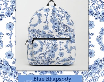 Elegant and pretty backpack rucksack school bag in Blue Rhapsody watercolour pattern by designer Patricia Shea