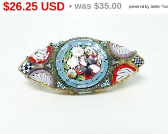 Mosaic Brooch Made in Italy - Vintage Floral European Pin