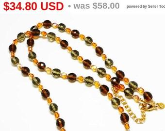 Summer Sizzler Sale Joan Rivers Crystal Necklace - Faceted Crystal Beads - Smoke Black & Topaz Goldtone Beaded Opera Length - Designer Si...