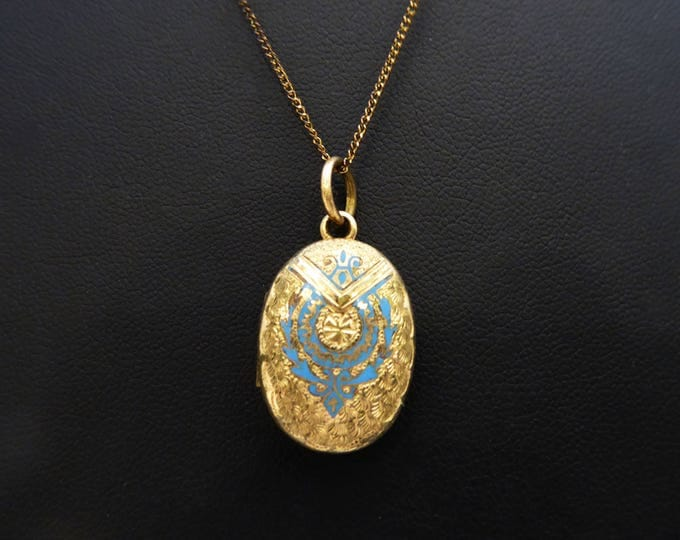 Victorian Gold Filled Locket, - Vintage 1960's Civil War Era Blue Enamel Antique Pendant, Etched Swirls, Stippled Dots, Two Pictures & Chain