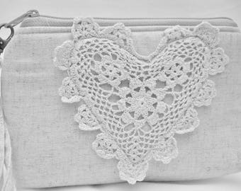 Romantic crochet heart on Linen Wristlet with detachable strap