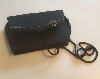 Evening Purse, Black Evening Bag, Rhinestone Accents, Evening Clutch, Black Dressy Evening Fashion Accessory