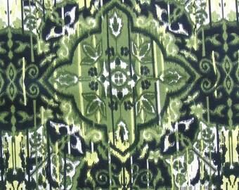 ON SALE Cotton Fabric Print - Olive Green Ikat Print 1 Yard ctnp126
