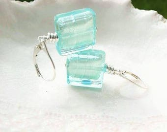 Murano Glass Square Earrings Blue Murano Glass Earrings Aquamarine Earrings In Venetian Glass