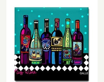 45% Off Today- Pug Wine Art Tile Ceramic Coaster Dog Print by Heather Galler Winery Bottles (HG794)