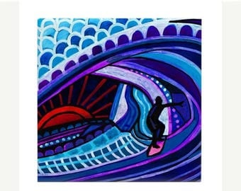Surfer Girl Boy Art Ceramic Coaster Tile  Hawaii Surfing North Shore Waikiki Beach Surfboard Art ocean Heather Galler Artist