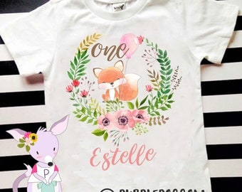 Fox birthday shirt girls birthday pony unicorn shirt Woodland birthday party girls birthday shirt custom birthday shirt name and number