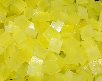 Lemon Wispy Stained Glass Mosaic Tiles