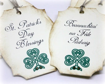 St Patricks Day Blessings Gift Tags Doubled Layered