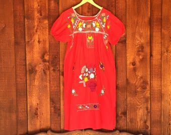 Vintage Red Oaxacan Embrodered Dress