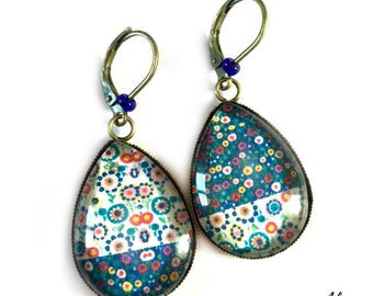 Earrings cabochon * bi-fleurs * water drops