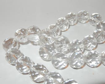 "Clear Quartz 12mm faceted beads 16"" strand"