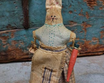Primitive Vintage Handmade Painted And Stuffed Standing Small Bunny