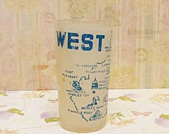 West Virginia Water Glass in vintage worn condition