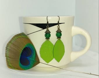 Lime green, grass green and brass dangle earrings