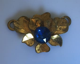 Antique c.1910s to 1920s gilt metal leaf and blue glass sash decoration