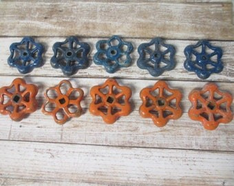 FAUCET HANDLES DISTRESSED - 10 Vintage Blue and Orange Flower Shaped for Mixed Media, Steampunk Industrial Decor, Altered Art Projects