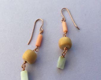 Mint Green Teal Peruvian Opal, Natural Coral & Upcycled Vintage Wood Bead Earrings
