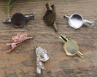 20 Brass Alligator Hair Clips W/ Crown Edged 15mm Round Bezel Antique Bronze/ Silver / Gold/ Rose Gold / White Gold/ Gun-Metal Plated- Z5823