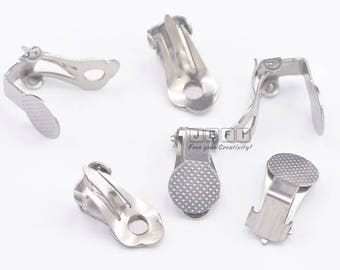 40 Clip-on Earrings 316L Stainless Steel Ear Clip W/ 9mm Round Pad Base Setting Glue-on Earring Blanks Wholesale