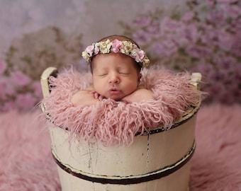 Pink and Yellow Newborn Flower Crown - Baby Flower Crown -  Newborn Floral Crown